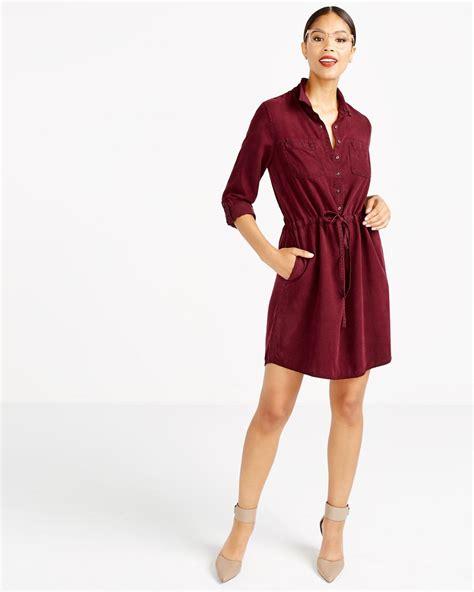Drawstring Shirt Dress drawstring solid shirt dress reitmans
