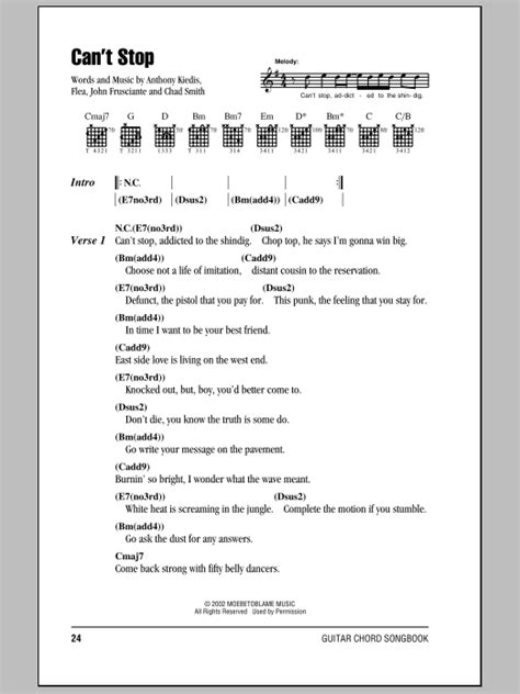 can t stop red hot chili peppers download can t stop by red hot chili peppers guitar chords lyrics