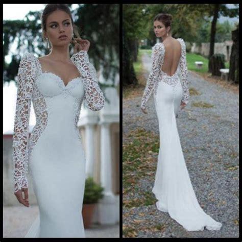 hochzeitskleid spitze langarm sleeve lace backless sweetheart mermaid wedding dress