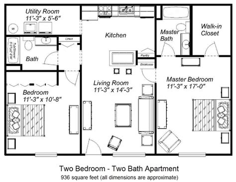 One Bedroom Floor Plan by Arden Place Apartments 187 Floor Plans