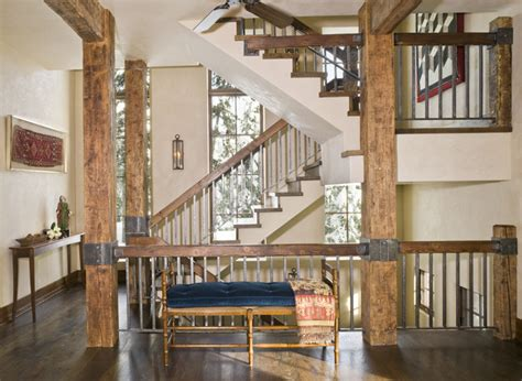 home interior railings mountain chic rustic staircase