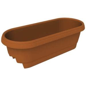 Deck Railing Planters Home Depot by Bloem 22 9 In X 9 5 In Clay Plastic Deck Rail Planter