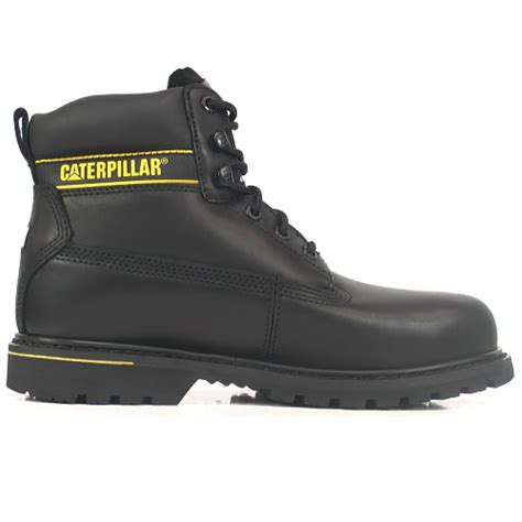 Caterpillar Holton Black Boot Safety Steel Toe Adventure Lapangan cat holton black safety boots with steel toe caps sb