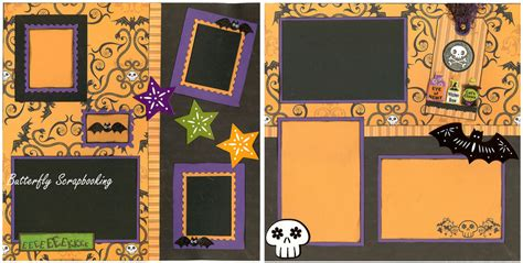 2 page scrapbook layout kits halloween bats skulls 2 page 12x12 page layout scrapbook