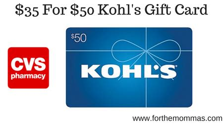 Kohl Gift Card At Walgreens - cvs 50 kohls gift card only 35 00 ftm