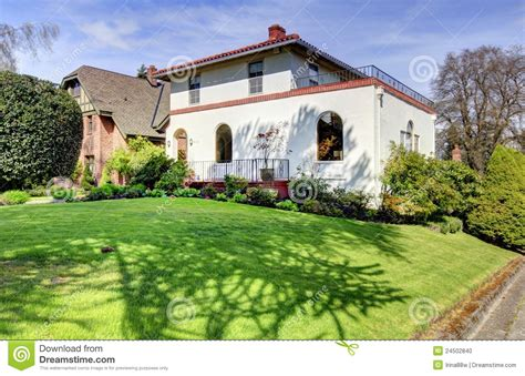 large spanish style ranch home stock image image 24083641 spanish style white large home front exterior stock photo