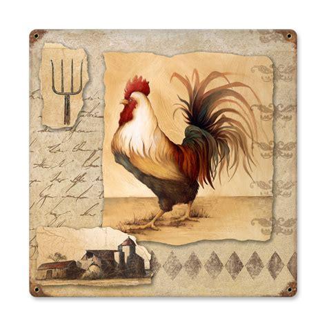 rooster pitchfork vintage metal sign