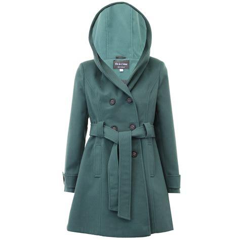 Hooded Button Coat coat womens jacket wool look faux fur button