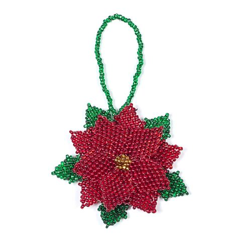 hand beaded fair trade poinsettia christmas tree ornament