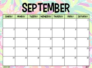 editable calendar lilly pulitzer august    laugh eat learn