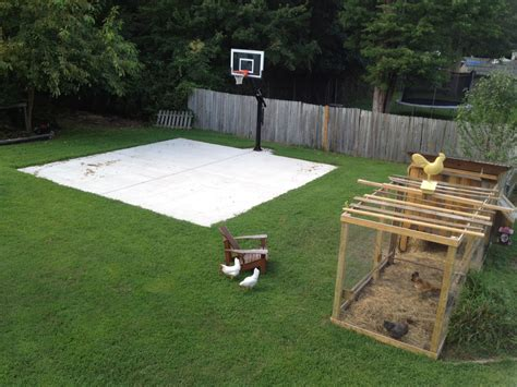 backyard concrete slab ideas backyard basketball on a concrete slab well done