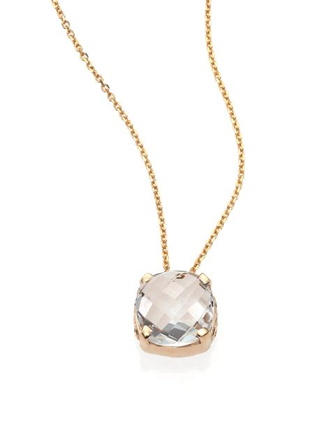 Necklace By lyst kalan by suzanne kalan white topaz 14k yellow gold cushion pendant necklace in white