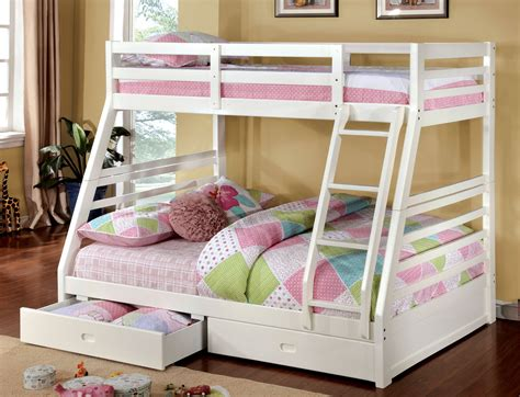 Bedroom Pink And White Solid Wood Bunk Bed For Girl Wood Bunk Bed With Stairs