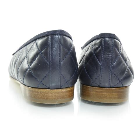 Chanel Quilted Ballet Flats by Chanel Quilted Leather Cc Ballet Flats 36 Navy 26332