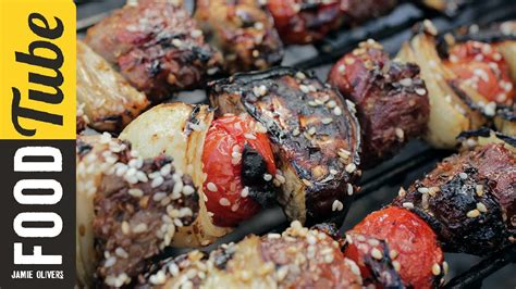 barbecued greek lamb kebabs for 10 recipe 9kitchen quick lamb kebabs lamb recipes jamie oliver recipes