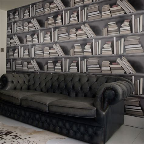 bookshelf wallpaper by y b vintage