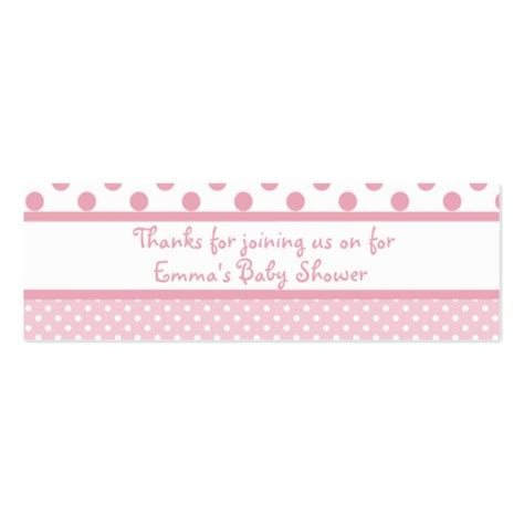 pink dots baby shower favor tag business card template