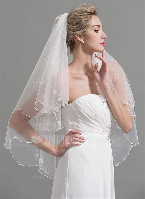 two tier beaded edge fingertip bridal veils with beading faux pearl sequin 006094946 wedding