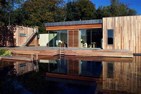 Large Great Room House Plans - tranquil forest house with a sustainable modern design in