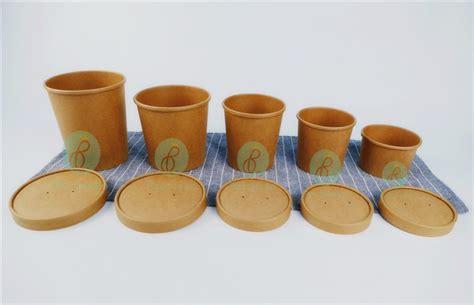 Food Grade Brown Kraft Paper Bowl Lid Paper Bowl Coklat 12oz 360ml Home Products Paper Cups Disposable Brown Kraft Paper Soup Cups Soup Bowls