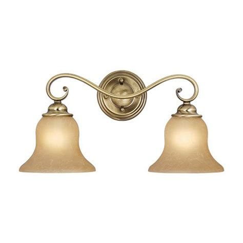 Antique Brass Bathroom Light Shop Cascadia Lighting 2 Light Monrovia Antique Brass Bathroom Vanity Light At Lowes