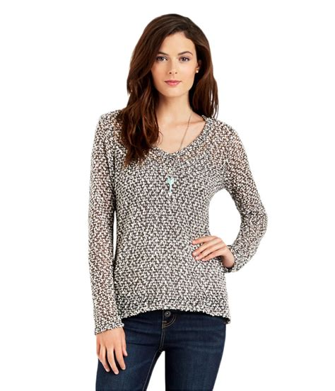 Two Tone Shirt W 038 aeropostale womens sheer textured pullover sweater