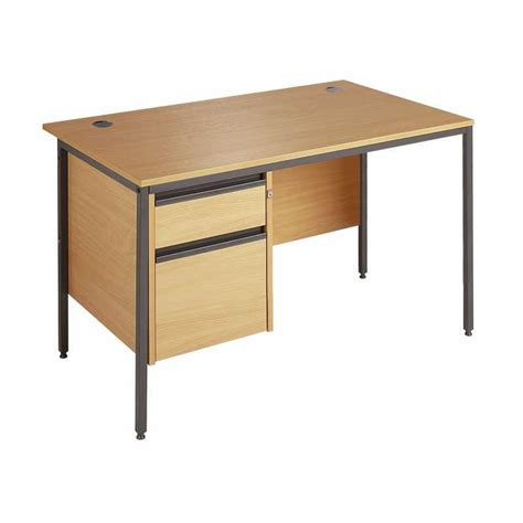 Office Desk With Drawers Maestro H Frame Fixed Pedestal Office Desk