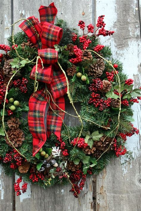 christmas wreath plaid ribbon red berries wreaths