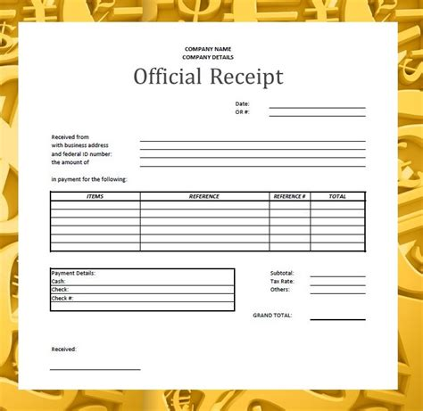 Official Receipt Template by Forms Documents Needed For Proper Accounting