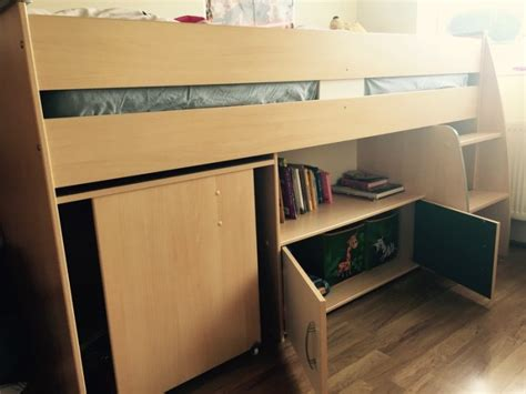 bunk single bed with a desk and shelf for sale in naas