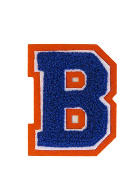 machine embroidered varsity letter b
