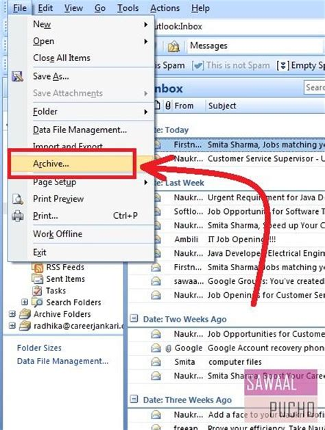 How Do I Search Archived Emails In Outlook How To Archive Emails Or Folders In Outlook 2007 7 Steps