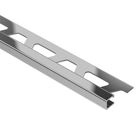 shop schluter systems quadec 0 438 in w x 98 5 in l steel tile edge trim at lowes com