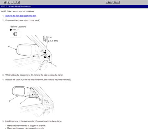 service manual remove mirror switch on a 2010 acura tl how do i replace a side view mirror