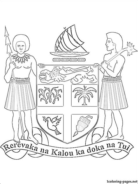 Fiji Coat Of Arms Coloring Page Coloring Pages Fiji Flag Coloring Page