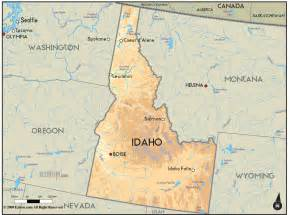 geographic id map geographical map of idaho and idaho geographical maps