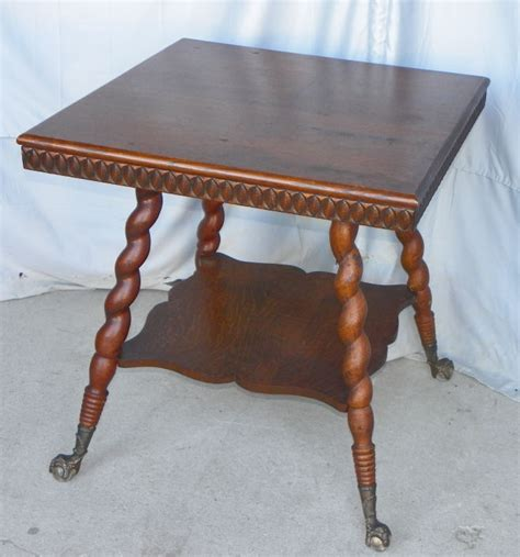 Bargain John's Antiques » Blog Archive Antique Oak Parlor Table with claw ball feet.   Bargain