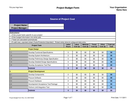 project budget plan template best photos of project management budget template