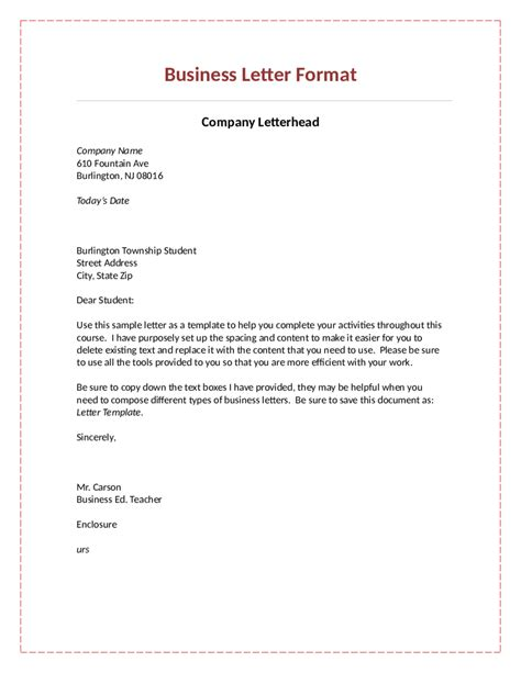 Official Business Letter Template college application report writing form
