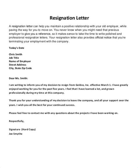 resignation letter word documents
