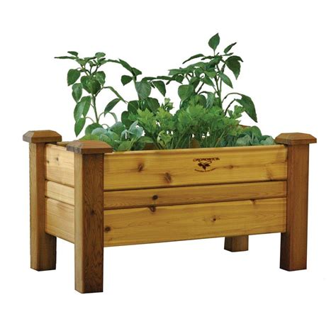 Planter Box Kits Home Depot by Gronomics 34 In X 18 In Safe Finish Cedar Planter Box
