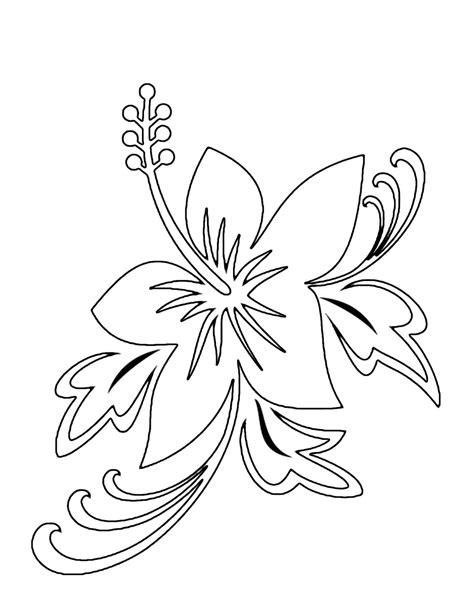 Tropical Flower Coloring Pages Flower Coloring Page Coloring Pages For Flowers