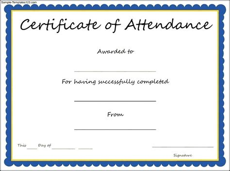 certificate of attendance template free attendance certificates printable data flow chart template