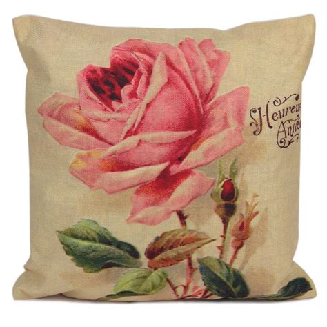 rose printed throw pillow cushion cover case home bed sofa 45x45cm cotton linen pillow case rose flowers printed