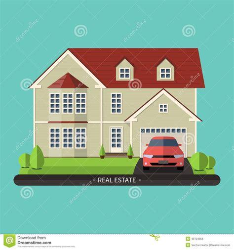 house flat design flat design illustration of residential house stock vector