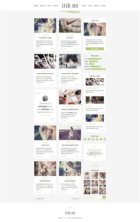 Inkas The Personal Blog Html Template By Uncommons Themeforest Free Website Templates With Sidebar Menu