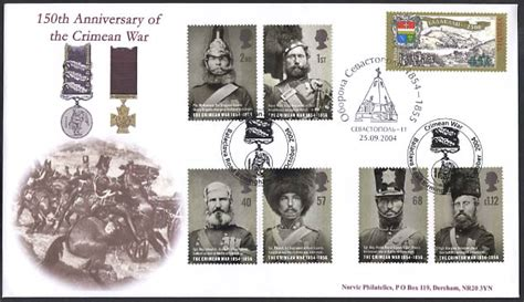 Great Britain St Fd Cover 2004 A Journey Wales St great britain sts 150th anniversary of the crimean war 12 october 2004 from norvic