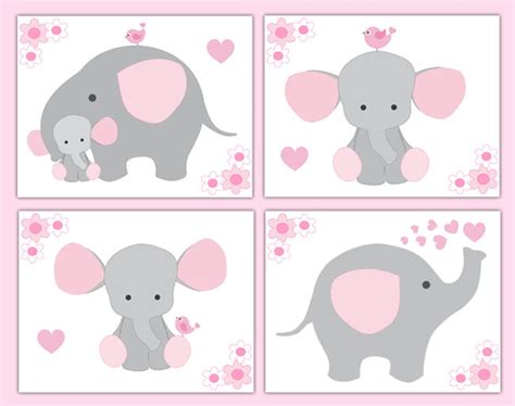 Giraffe Wall Stickers pink grey gray elephant nursery baby girl wall art prints