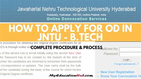 Mba Apply Now Or Later by How To Apply For Od In Jntu B Tech M Tech Mba Jntuh