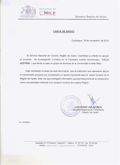 Cicloaustral Chile Carta De Apoyo Sernatur Ays 233 N A